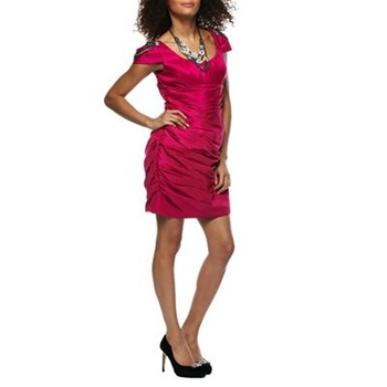 Ruth Tarvydas Pink Ring Leader Embellished Shoulder Dress