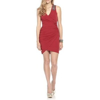 Laundry Red Salsa Embellished Shoulder Dress