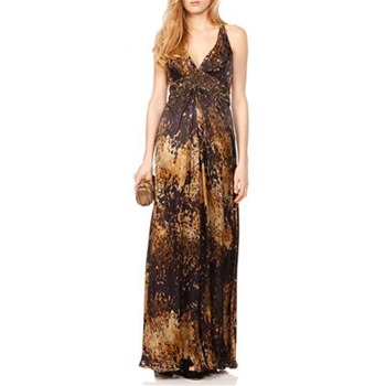 Theia Brown/Yellow Abstract Print Silk Gown