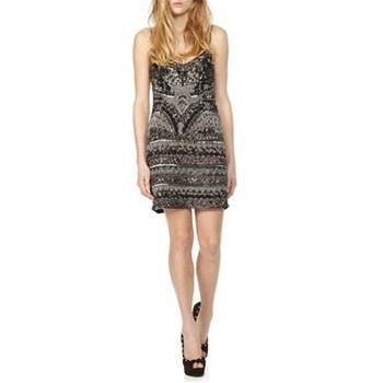 Theia Black/Silver All-Over Embellished Silk Mini Dress