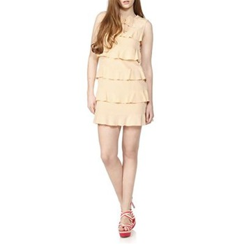 See by Chloé Nude Silk Ruffle Bow Dress