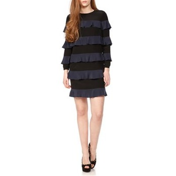 See by Chloé Black/Navy Ruffle Silk Shift Dress