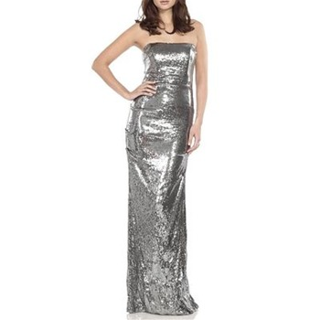 Nicole Miller Silver Sequin Evening Dress