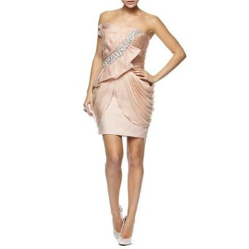 Jovani Pink Pleated Jewel Silk Cocktail Dress