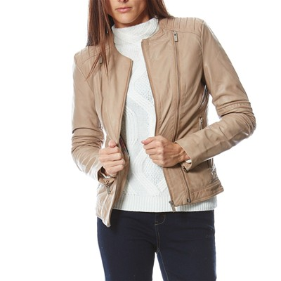 Usual Way BONNIE GIACCA IN PELLE BEIGE