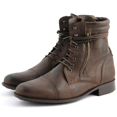 Exclusif Paris WANTED BOTTINES EN CUIR MARRON Chaussure France_v17006