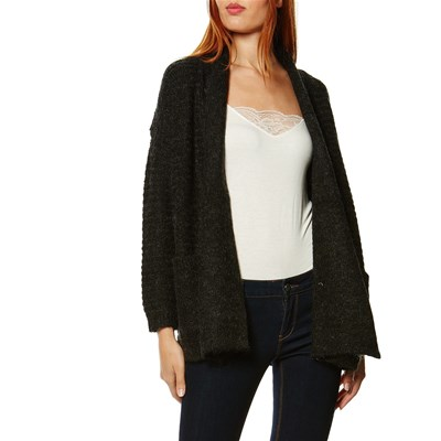 Best Mountain CARDIGAN LUNGO IN MISTO LANA NERO
