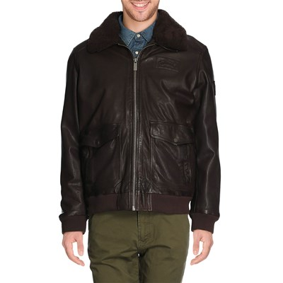 Oakwood CRUISER BLOUSON EN CUIR MARRONE