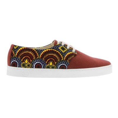 Panafrica NOUADHIBOU WAX BASKETS BASSES ROUGE Chaussure France_v8628