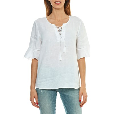 Benetton TOP IN LINO BIANCO