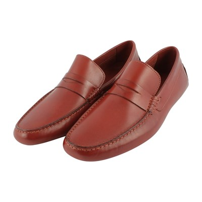 Exclusif Paris BOAT MOCASSINS EN CUIR ROUGE