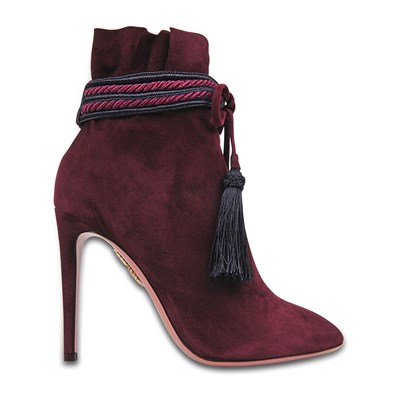 Aquazzura SHANTY BOTTINES EN CUIR PRUNE Chaussure France_v17908