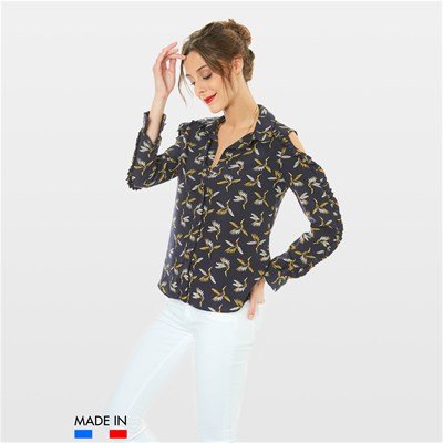 BrandAlley La Collection FLORA CAMICIA A MANICHE LUNGHE BLU MARINE