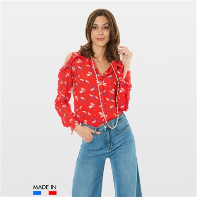 BrandAlley La Collection FLORA CAMICIA A MANICHE LUNGHE ROSSO