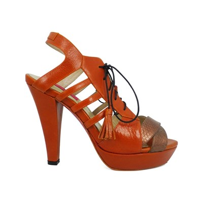 Pring Paris JEREMY SANDALES À TALON EN CUIR ORANGE Chaussure France_v17969