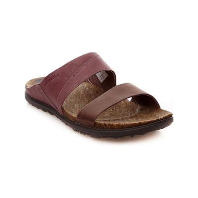 Merrell AROUND TOWN SLIDE SANDALES EN CUIR VIOLET Chaussure France_v1944