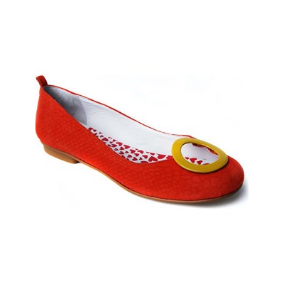 Hep'Y Paris CYRCLES BALLERINE EN CUIR ORANGE Chaussure France_v15944