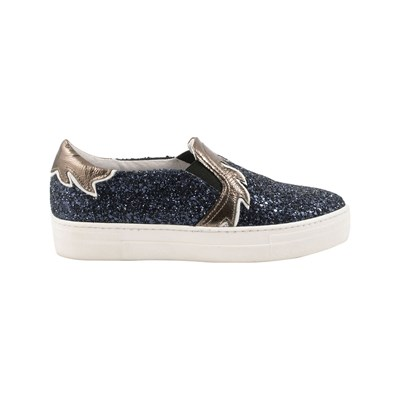 Exclusif Paris MEGAN SLIP-ON EN CUIR BLEU Chaussure France_v16161