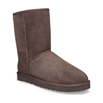Ugg CLASSIC SHORT BOTTINES FOURÉES EN CUIR CHOCOLAT Chaussure France_v8516