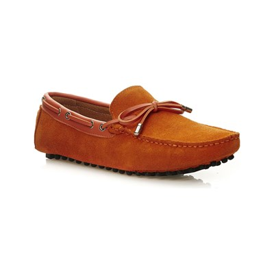 Uomo MOCASSINS EN CUIR ORANGE Chaussure France_v6540