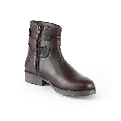 Manoukian BOTTINES EN CUIR BRUN Chaussure France_v10178