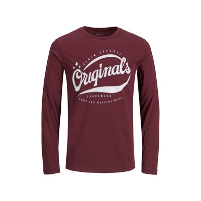 Jack & Jones JORLEGENDS MAGLIETTA A MANICHE LUNGHE BORDEAUX