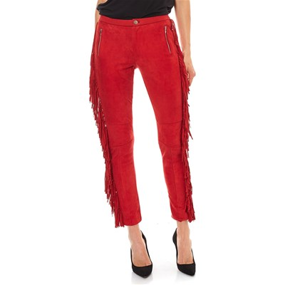 Isaco PANTALONI IN PELLE ROSSO