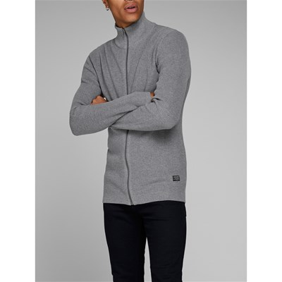 Jack & Jones RIBBED NOOS CARDIGAN GRIGIO