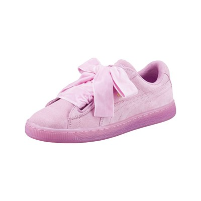 Puma HEART BASKETS EN CUIR SUÉDÉ ROSE