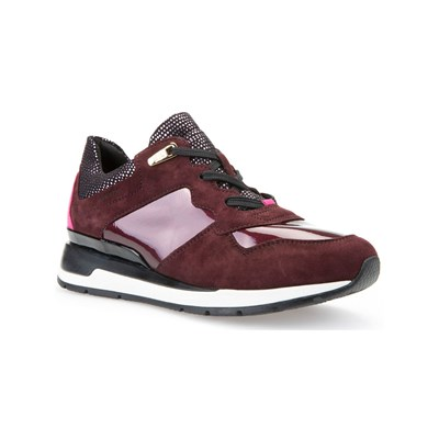 bello Geox D SHAHIRA A SNACKERS IN PELLE BIMATERIALE BORDEAUX