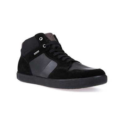 Imposta On vendite Geox U TAIKI B ABX A SNEAKERS ALTE IN PELLE BI-MATERIALE NERO