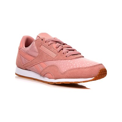 Reebok Classics CL NYLON SLIM TXT BASKETS EN CUIR ROSE Chaussure France_v4372