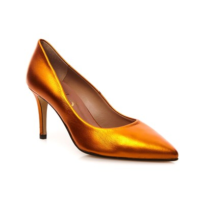 1.2.3 NASTASIA ESCARPINS EN CUIR ORANGE Chaussure France_v2321