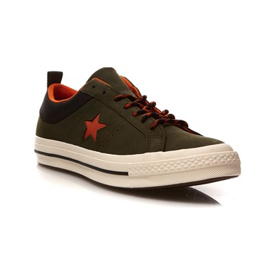 Converse ONE STAR OX BASKETS EN CUIR VERT Chaussure France_v7411