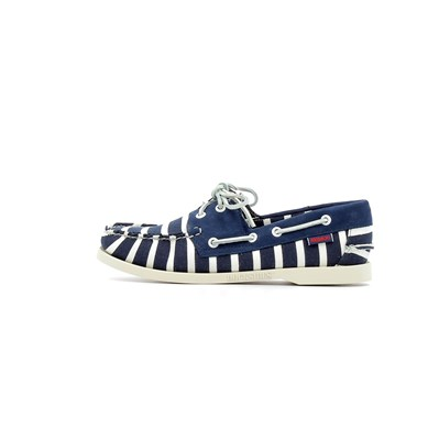 Chaussures Femme | Sebago SPINNAKER STRIPE WOMEN BASKETS BASSES BLEU MARINE