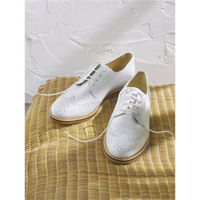 Cyrillus DERBIES EN CUIR BLANC Chaussure France_v8346