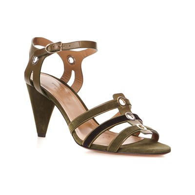 Sonia Rykiel SANDALES À TALONS EN CUIR OLIVE Chaussure France_v13200