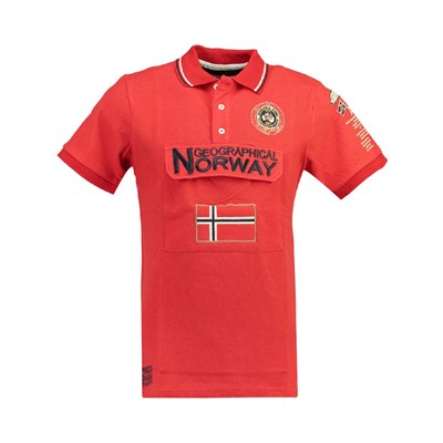 Geographical Norway KAYFOUR POLO MANICHE CORTE ROSSO