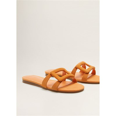 Mango MULES EN CUIR ORANGE Chaussure France_v952
