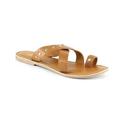 Manoukian MULES EN CUIR CAMEL Chaussure France_v2650