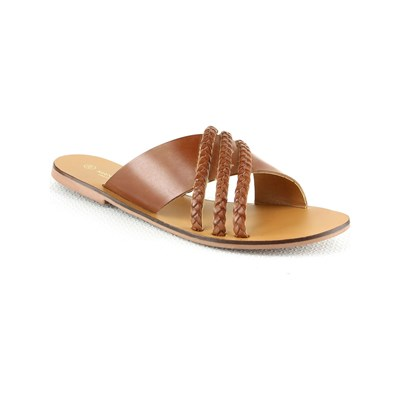 Manoukian MULES EN CUIR CAMEL Chaussure France_v2022