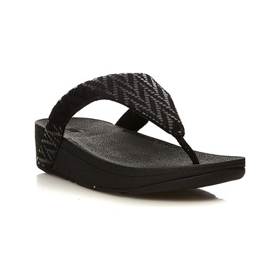 FitFlop LOTTIE CHEVRON TONGS NOIR Chaussure France_v13153