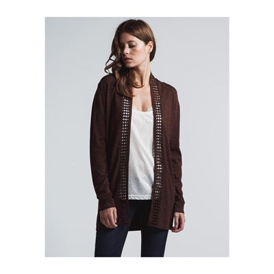 LPB Woman CARDIGAN CON FASCE DECORATIVE CAFFÈ