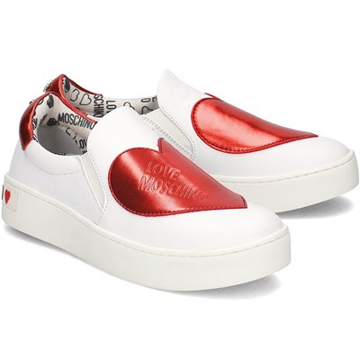 Love Moschino BIG HEART BASKETS BASSES BLANC Chaussure France_v17471