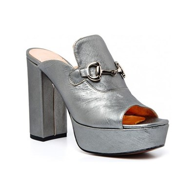 Ann Tuil ANDALUSE SANDALES EN CUIR SAFFIANO GRIS CLAIR Chaussure France_v7974