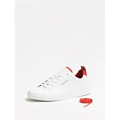 Guess LUISS LOW BASKETS EN CUIR BLANC Chaussure France_v12537