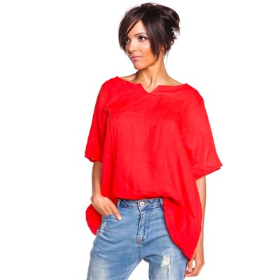 100% Lin ANTHEA TOP IN LINO ROSSO