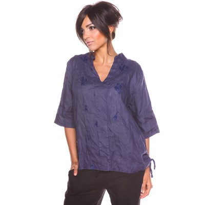 100% Lin BELLA TOP IN LINO BLU MARINE