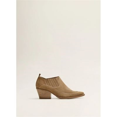 Mango BOTTINES CUIR COWBOY BEIGE Chaussure France_v10287
