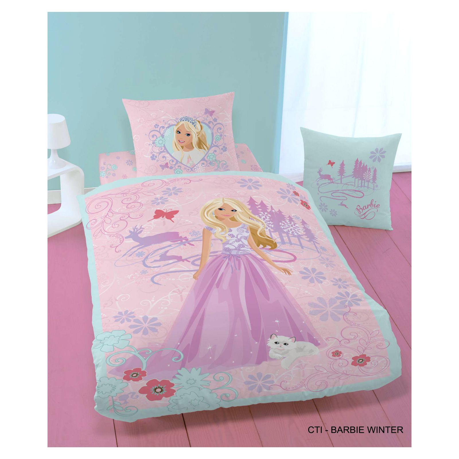 barbie parure de lit barbie winter 140x200 rose brandalley. Black Bedroom Furniture Sets. Home Design Ideas